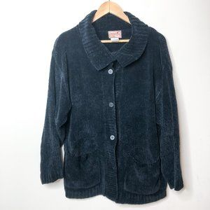 April Cornell Black Chenille Button Front Cardigan